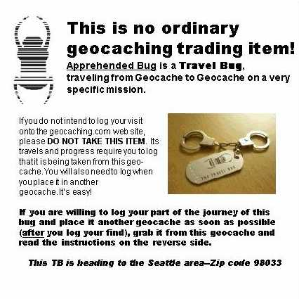 Create A Geocache Travel Bug Instruction Sheet